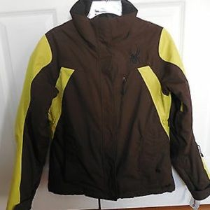 Brown and yellow women's winter jacket